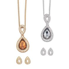 Glass pear shaped stone pendant necklace surrounded by rhinestones with an open rhinestone embellished teardrop at the top. Includes matching open pear shaped earrings. Offered in your choice of Smoke Topaz colored stone in goldtone setting or Black Diamond colored stone in a silvertone setting.  Imported