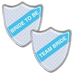 A Polka dot styled bride to be badge with accompanying team bride badges.