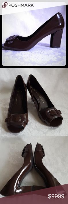 "🌻SALE 🌻 Franco Sarto Artist's Collection Check out my other listings - 100's of 👠shoes👠, 👢boots👢 and 👜bags👜. Bundle 2 or more and save money! 💲💵💲  Franco Sarto brown heels from The Artist's Collection in the  ""Natalia"" style. Brown patent leather heels with peep toe. Aporox. 2 3/4"" heel. Excellent used condition. Smoke free and pet free home. Franco Sarto Shoes Heels"