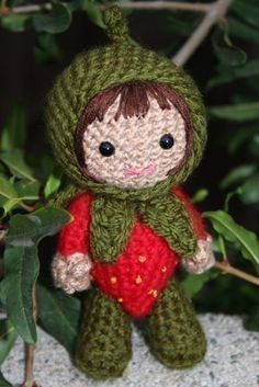 How funny is this!?! hah!    Crochet Pattern Ruby in a strawberry costume amigurumi by Owlishly