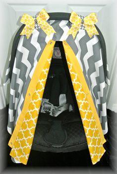 car seat canopy, car seat cover, gray, yellow, chevron, mustard, damask, polka dot, baby car seat, infant, baby girl, baby boy, infant boy