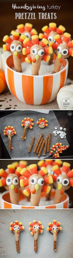 These Thanksgiving Turkey Pretzel Treats are super fun and easy to make. The kid… These Thanksgiving Turkey Pretzel Treats are super fun and easy to make. The kids will absolutely love them and they actually taste really good too! Thanksgiving Snacks, Holiday Snacks, Thanksgiving Turkey, Thanksgiving Decorations, Happy Thanksgiving, Turkey Pretzel Treats, Easter Appetizers, Halloween Appetizers, Food Crafts