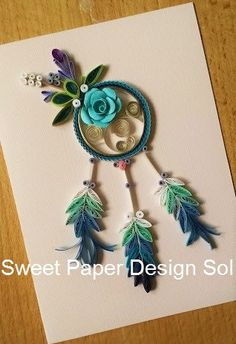 This beautifully hand-made dream catcher Card for Mothers Day, Wedding, bridal shower card,Happy birthday, anniversary cards for Everyone!!!! All these cards are made by order   All the cards will be coated, and will be stiff and water-proof. An envelope with a paper-quilled heart or flower will be included.  *The cards will be packaged in protecting bubble wrap, and will come safely to you. Let your mothers enjoy this wonderful card. .  *This item will be shipped via Canada Post Standard…
