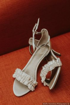 Wedding shoe inspo - silver heels with lace and pearl details {Adolfo Florentino Photography}