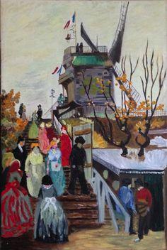 Naar Vincent van Gogh, Molen Le Blute Fin, op Montmartre Parijs. Olieverf op doek, 40x60 cm, door Annerieke Smits-Vermeulen, 2015.