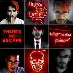 Darkiplier // Neon Red-Black Aesthetic Collage