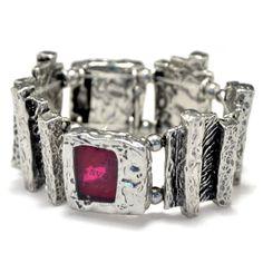 Avant garde cherry color bracelet stretch by BijouChantaleGelinas