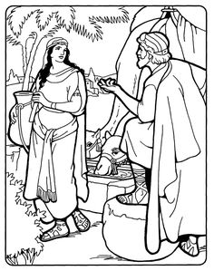 Rebekah and Isaac: Rebekah at the well  Bible coloring page