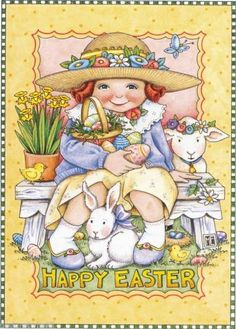 Easter artwork by Mary Engelbreit ~ Mary Engelbreit, Illustrations, Illustration Art, Jessie Willcox Smith, Easter Parade, Vintage Easter, Vintage Holiday, Vintage Cards, Easter Crafts
