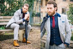 Actor Craig McGinlay wearing Dress2Kill bespoke three piece suit with contrasting waistcoat.