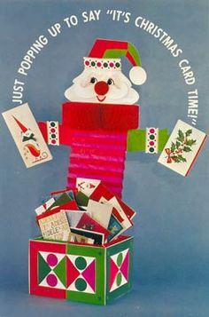 Hallmark jack-in-the-box Santa card holder, 1964