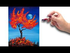 Cotton Swabs Painting Fall Tree for Beginners Basic Easy Step by step - YouTube
