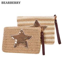 [Visit to Buy] BEARBERRY 2017 new fashion sequined star Straw Messenger Bags Woven Day Clutch Flap Bag Beach Package summer clutch bags MN 539 #Advertisement