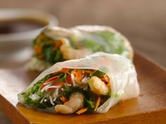 This Asian-inspired appetizer is the perfect way to get the party started—especially on a hot summer day. Look for hoisin sauce and red chili paste (different from red chili sauce) in the Asian aisle of your supermarket; rice paper wrappers can usually be found in the refrigerated section or in the Asian aisle as well. Click through for the step-by-step how-to video!
