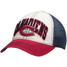 Montreal Canadiens Reebok Face-Off Slouch Flex Hat - White/Navy