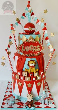 Circus Cake by Arty Crafty Cakes: Carnival Party Foods, Carnival Cakes, Circus Carnival Party, Circus Theme Party, Carnival Birthday Parties, Carnival Themes, Circus Birthday, Birthday Cake, Circus Wedding