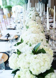 Hydrangeas make the best center arrangements! #Wedding #Watters http://www.pinterest.com/wattersdesigns/