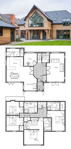 Floorplan for building a house. Potton Home contemporary barn design. Floorplan for building a house. Potton Home contemporary barn design. Modern Floor Plans, House Floor Plans, Modern Architecture House, Modern House Design, Grand Designs Houses, Planer Layout, Self Build Houses, Contemporary Barn, Sims House