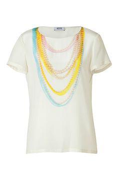 $375 Trompe Loeil Silk Top   STYLEBOP.com | IvoryPearlCollierPrintSilkTopbyMOSCHINOC | the latest trends from the capitals of the world
