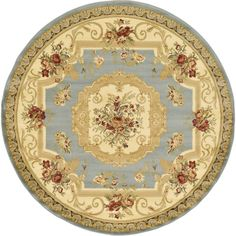Beautify your home with the Henry Versailles Rug from Unique Loom. This elegant rug showcases a classic motif with floral features and an elaborate border. Powerloomed of soft polypropylene for durability, fade resistance, and comfort underfoot. Floral Area Rugs, Beige Area Rugs, Versailles, Henry Green, Synthetic Rugs, Cream Area Rug, Light Blue Area Rug, Round Area Rugs, Rug Material