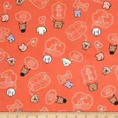 Designed by Sally Bell Sharp for Ink & Arrow Fabrics, this cotton print collection features whimsical pups. Perfect for quilting, apparel, and home decor accents. Colors include pinkish orange, white, brown, black, and grey.