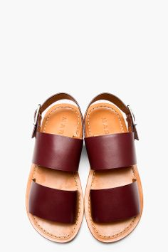 MARNI Oxblood Leather Sandals