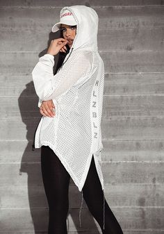 HLZBLZ White Perforated Hi-Lo Jacket - Street Chic - Trends