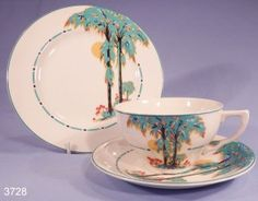 J and G Meakin Silhouette Art Deco Hand Finished Tea Cup, Saucer and Tea Plate Trio