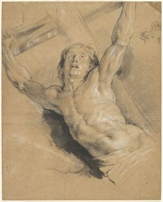 Attributed to Peter Paul Rubens, Flemish (Siegen, Westphalia 1577 - 1640 Antwerp, Belgium) - A Study for the Figure of Christ, from 'The Raising of the Cross'. Black and white chalk and black wash on light tan antique laid paper, 44.9 x 36 cm. Harvard Art Museums