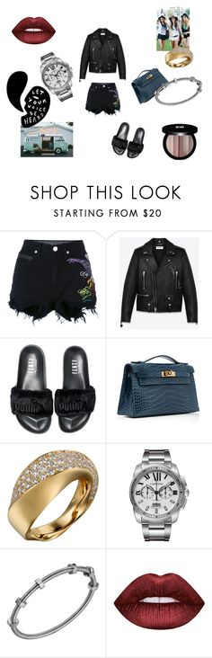 """""""Dark side of my mind"""" by maria-chamourlidou ❤ liked on Polyvore featuring County Of Milan, Yves Saint Laurent, Puma, Hermès, Lime Crime and Edward Bess"""