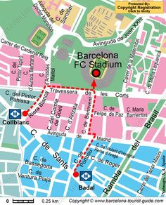 Map showing the metro stations and walking directions to the Nou Camp Stadium