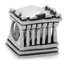 925 Silver Plated GREEK PARTHENON European Charm Bead (Fits Pandora Chamilia)