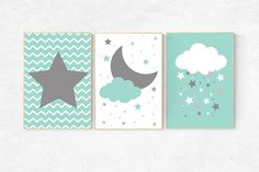 Mint nursery decor, cloud nursery mint nursery, star nursery decor, nursery wall art, set of 3, nursery prints, baby room decor mint nursery