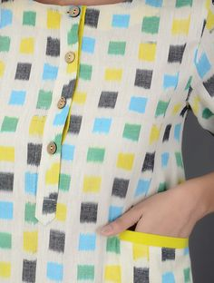 Best 12 Ivory Blue Green Yellow Ikat Cotton Dress with Pocket Women Dresses Enamored Salwar Designs, Kurti Neck Designs, Saree Blouse Designs, Khadi Kurta, Churidar, Anarkali, Salwar Kameez, Lehenga, Indian Designer Outfits