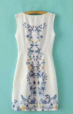 Floral Print O-neck Sleeveless Vintage Dress