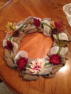 Some of new fall burlap wreaths I made