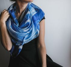 Hand painted silk scarf l hand painted silk scarf | handpainted | blue and white | minimalist fashion | fashion accessories | light scarf | square scarf | abstract art | handmade