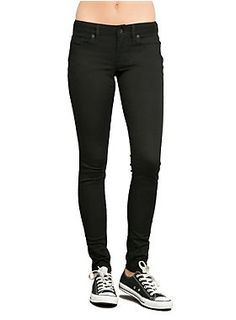 "No one can have enough black skinny jeans. Seriously. They go with everything. This pair has a five-pocket styling with button and zip fly. A classic never goes out of style.<ul><li> 10"" leg opening</li><li>98% cotton; 2% spandex</li><li>Wash cold; dry low</li><li>Imported </li></ul>"