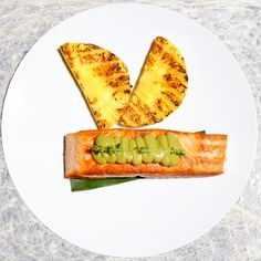 Grilled Norwegian #salmon with #pineapple and #avocado cream.