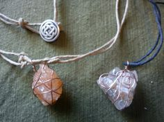 Polished salt rocks from the Underground Salt Museum, wrapped in wire and made into necklaces with a button-style closure.