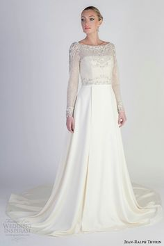 Strapless A-Line Wedding Dress Shown With Lovely Embroidered & Beaded Net Long Sleeve Topper by Jean-Ralph Thurin Spring 2016.......