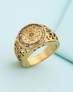 Golden Cut-out Designer Men's Ring