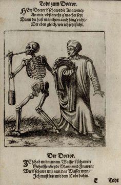 G18 - Le Médecin. Danse macabre du couvent des dominicains de Bâle (Suisse) (v. 1440). Gravure de Matthaeus Merian (1621).