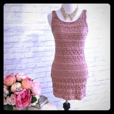 Bodycon laced mini dress Blush colored laced mini dress. U shape front and slightly lower back. Form fitting and Lined. Never been worn but removed tags. It was meant to be used for a bachelorette party. Forever 21 Dresses Mini