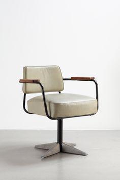 Jean Prouvé, Direzione N. 353 sedia girevole da ufficio, 1951. Chair design vintage