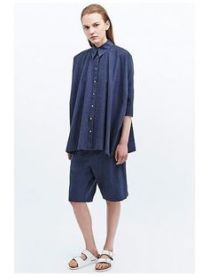 MM6 Chambray Denim Shorts in Blue  http://sellektor.com/all?q=denim