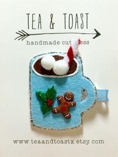 Hot chocolate hair clip-winter hair clip, glitter hair clip, teaandtoast by teaandtoastx on Etsy