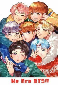 Bts fan art / ship · véi, que lindo! Bts Anime, Anime Cosplay, Anime Naruto, Bts Chibi, Bts Jimin, Bts Taehyung, Anime Angel, Fanart Bts, Kpop Drawings