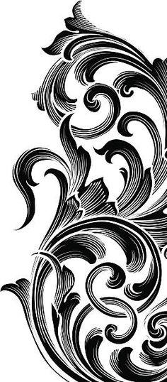 Filagree Tattoo, Chicano Lettering, Religious Tattoos, Batik Pattern, Stencil Patterns, Tattoo Stencils, Scroll Design, Hand Art, Filigree Design