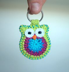 Crochet owl keychain, owl keyring, green crochet owl